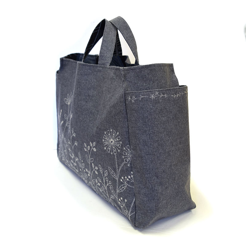 Flower Border Square Bag, with Fusible interfacing (without instructions  and patterns) in