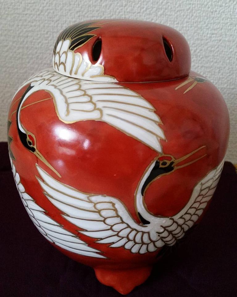 香炉  鶴 贅沢で優美 ほっと安らぐ一時に 清水焼 ギフト 贈り物 お祝い 新築祝い 記念品 の贈答に 京焼 清水焼 日本 伝統