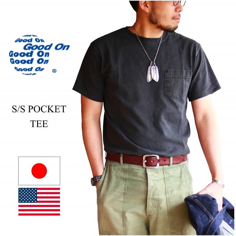 Good On グッドオン 人気定番Tシャツ ショートスリーブポケットTeeです S 大人気 新品 送料無料 アメカジ P-ブラックメンズ アメトラ ショートスリーブポケットTee POCKET TEE