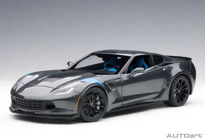 1/18 オートアート AUTOart Chevrolet Corvette Grand Sport Watkins Glen Grey Metallic / Black Stripes / Blue Fender Hash Marks シボレー コルベット グランスポーツ アメ車 ミニカー