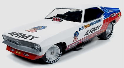 1/18 auto world American Muscle ARMY 1973 Plymouth Cuda Funny Car プリムス クーダ ファニーカー ミニカー アメ車