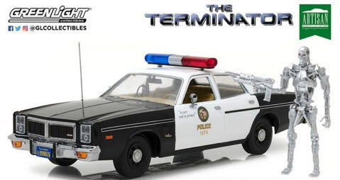 1/18 グリーンライト GREENLIGHT The Terminator 1977 Dodge Monaco Metropolitan Police with T-800 Endoskeleton Figure ターミネーター ダッジ モナコ フィギュア付 ミニカー アメ車