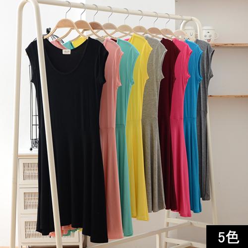 Tunic dress simple plain sleeveless border tank top A line layered color mini short-length tops coteswordaley tasty flare ladies women fashion black Black