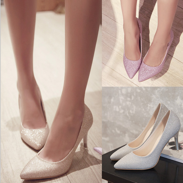 Party dress (outlet) pumps heel 7.5cm wedding ceremony party beauty leg pumps high heeled shoes pin heel pointed toe four circle class reunion party