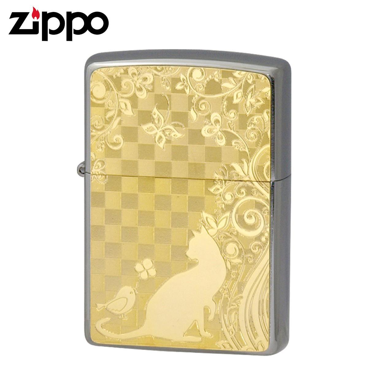 zippo ジッポー ライター オイルライター メタルプレート ゴールド ネコと小鳥 ギフト プレゼント 贈り物 返品不可 喫煙具