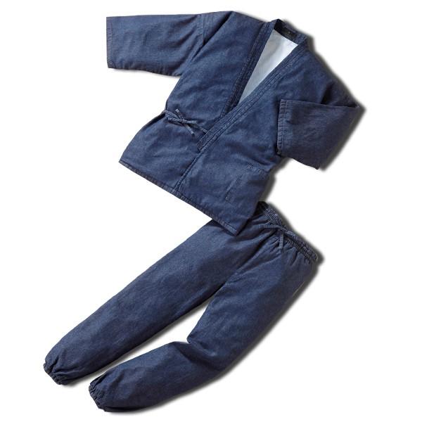 紳士用 メンズ 作務衣 裏フェイクファー付あったかデニム作務衣40616 インディゴブルー 父の日 ギフト プレゼント おしゃれ 人気