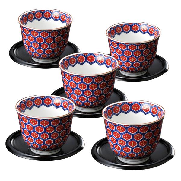 超熱 和食器 湯のみセット 艶紅 亀甲 亀甲 茶托付汲出し揃 和食器 28852 28852, Sofiya World Gift Shop:585fd7c0 --- dpedrov.com.pt