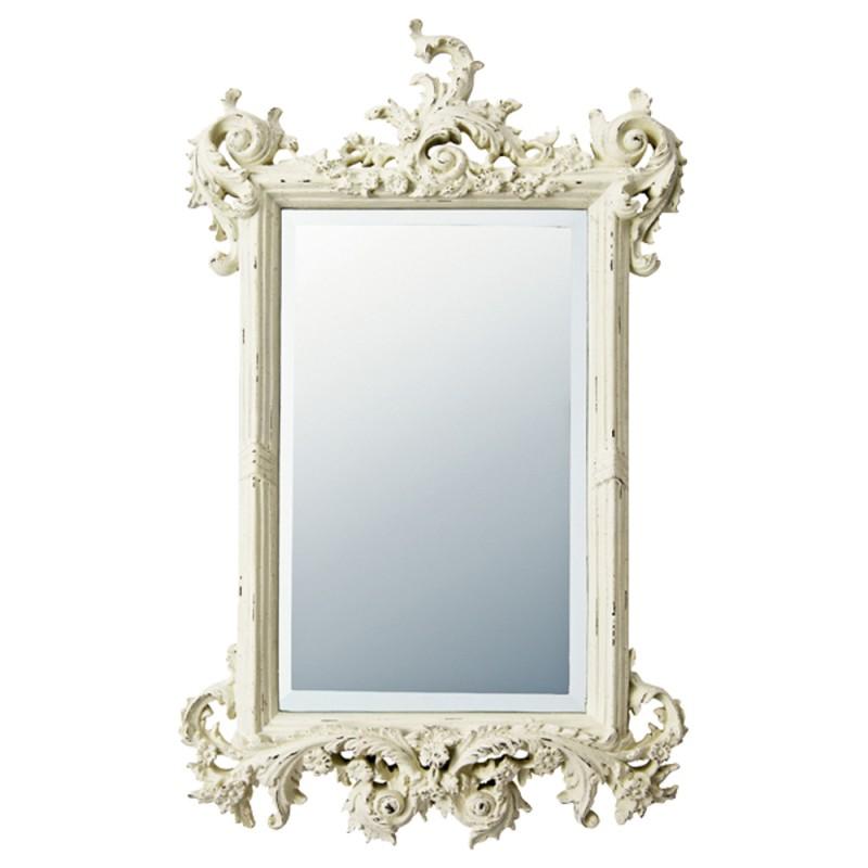 ★ポイント10倍★ 送料無料(北海道・沖縄・離島除く) 鏡 壁掛け ミラー ウォールミラー グレース アート ミラー フォリッジ アンティークホワイト GM-15011 鏡 壁掛け ミラー ウォールミラー エレガント 姫系 プリンセス