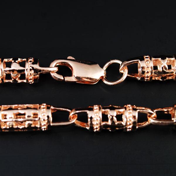 透かしクロス模様がお洒落なベリーチェーンにもOKロングチェーン★ピンクゴールドコーティングチェーン 78cm-7.0mm