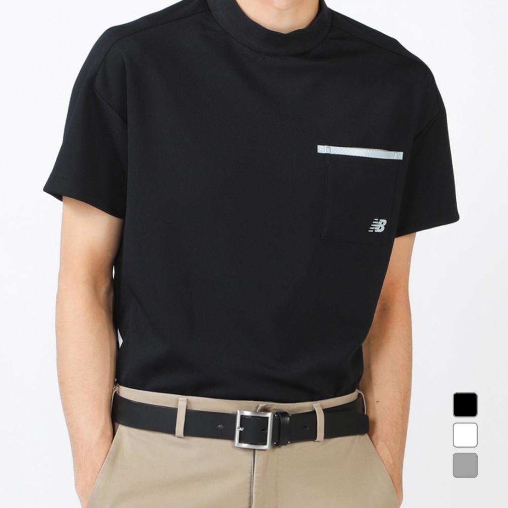 ニューバランス ゴルフウェア 半袖 ブロックジャカードダブルフェイス モックネックプルオーバー (0121166007) メンズ New Balance