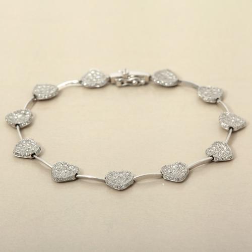 K18WG(ホワイトゴールド)ダイヤモンド1.59ctハートモチーフブレスレット