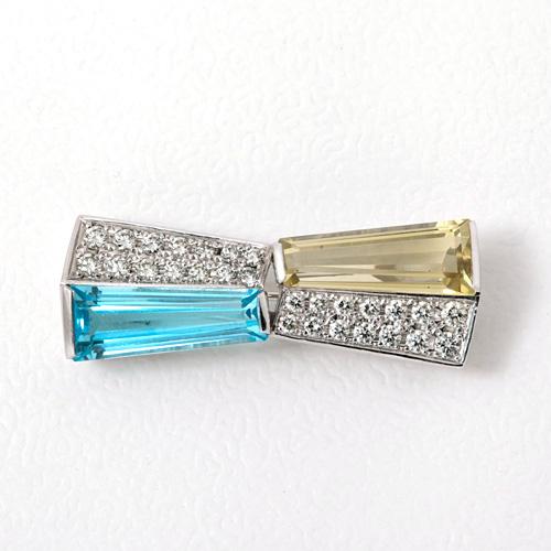 Pt900 ダイヤモンド入りブローチ レモントパーズ 5.718ct ブルートパーズ 4.773ct ダイヤモンド 1.00ct