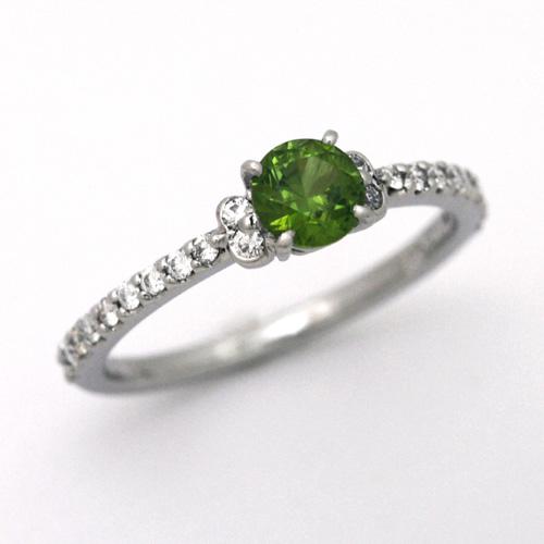 プラチナ デマントイドガーネット 0.55ct ダイヤモンド 0.194ct エンゲージリング