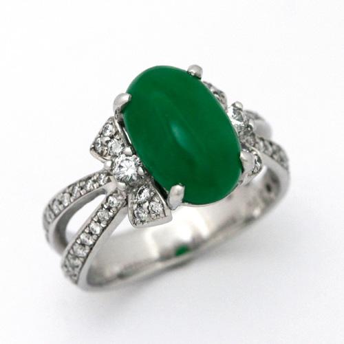 プラチナ ヒスイ 3.10ct ダイヤモンド 0.385ct リング 翡翠 アップルグリーンカラー