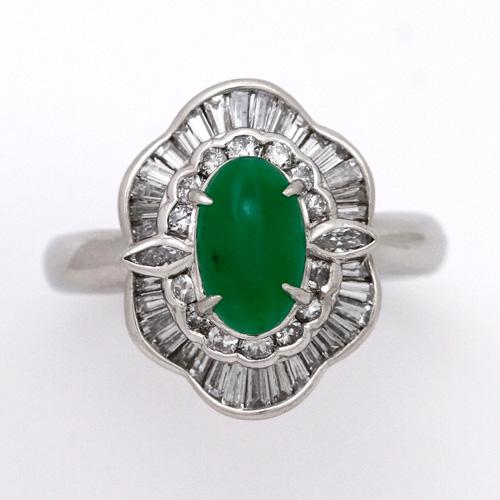 ヒスイリング ヒスイ ダイヤモンド 0.78ct 翡翠 アップルグリーンカラー