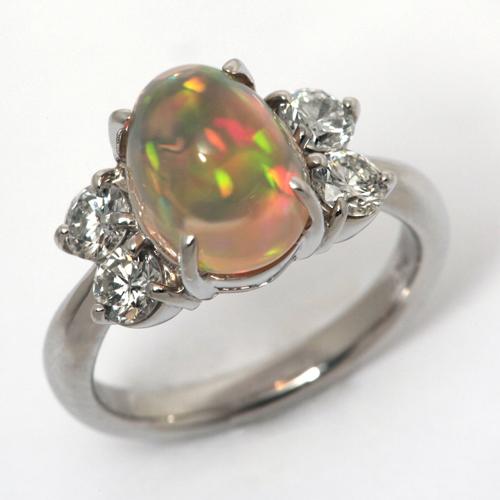 プラチナ メキシコオパール 3.38ct ダイヤモンド 0.74ct リング