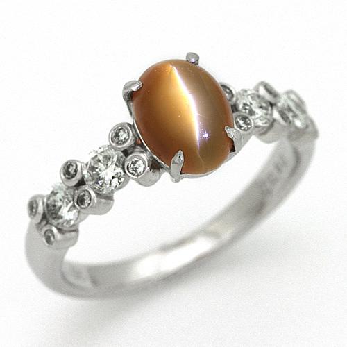 プラチナ オパール キャッツアイ 0.95ct ダイヤモンド 0.50ct リング
