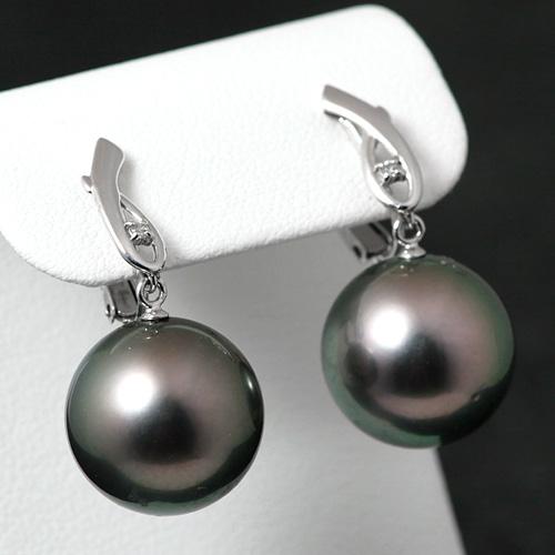黒真珠ダイヤモンドイヤリング K18WG 黒真珠 13mmUP ダイヤモンド 0.02ct