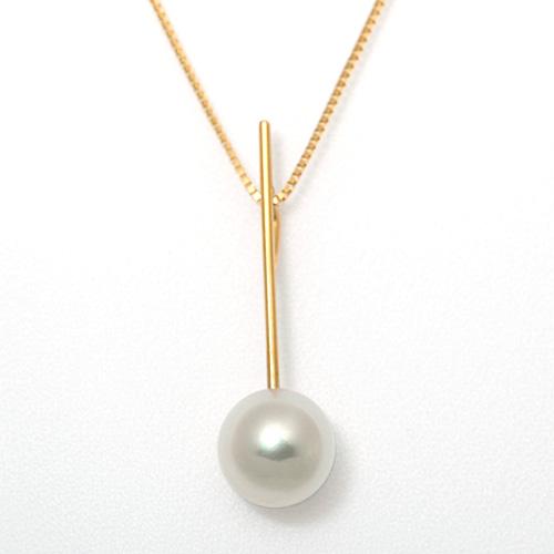 K18 アコヤ真珠 8.7mm ダイヤモンド 0.23ct ネックレス