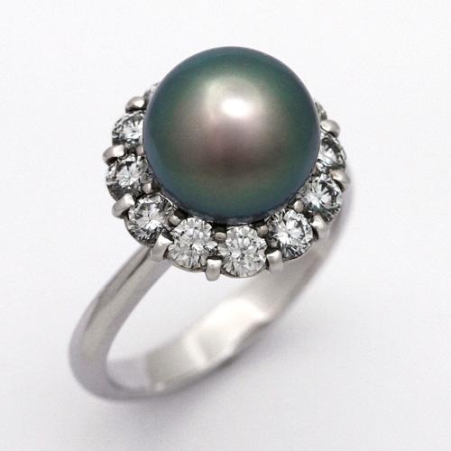 パールリング プラチナ 南洋黒真珠 9.8mm ダイヤモンド 0.963ct