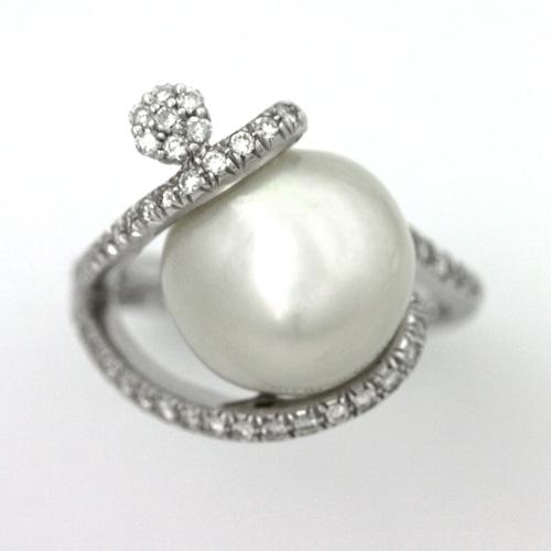 パールリング K18WG 南洋真珠 12mm ダイヤモンド 0.40ct
