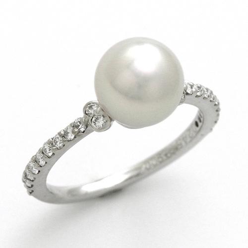 パールリング プラチナ あこや真珠 8.3mmUP ダイヤモンド 0.245ct