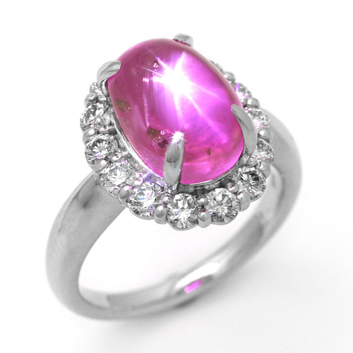 プラチナ スタールビー 8.98ct ダイヤモンド 0.95ct リング カボッションカット