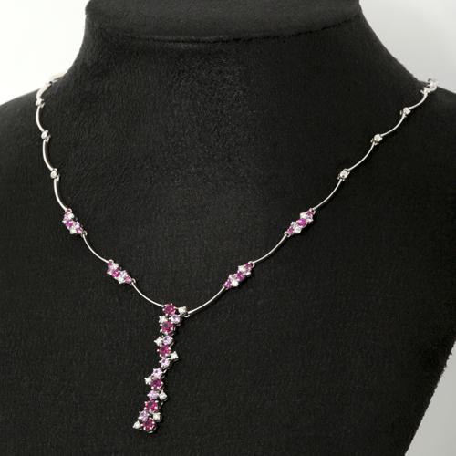 K18WG ルビー ピンクサファイア 2.95ct ダイヤモンド 0.46ct ネックレス