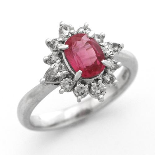 プラチナ ルビー 1.28ct ダイヤモンド 0.50ct リング