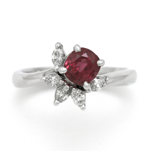 プラチナ ルビー 1.34ct ダイヤモンド 0.264ct リング