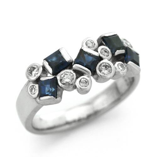 K18WG ブルーサファイア 1.07ct ダイヤモンド 0.19ct リング