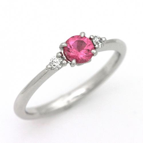 プラチナ ピンクスピネル 0.35ct ダイヤモンド 0.059ct エンゲージリング