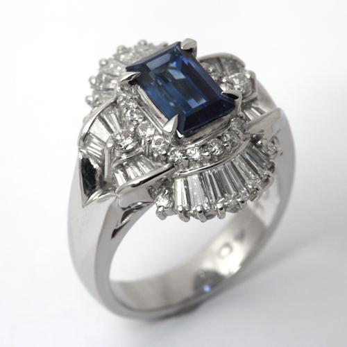 プラチナ サファイア 1.69ct ダイヤモンド 1.40ct リング