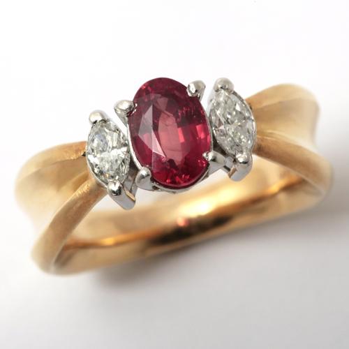 プラチナ K18 オレンジ サファイア 1.175ct ダイヤモンド 0.295ct リング