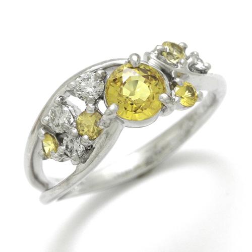 サファイアリング K18WG イエローサファイア 0.812ct 0.279ct ダイヤモンド 0.21ct
