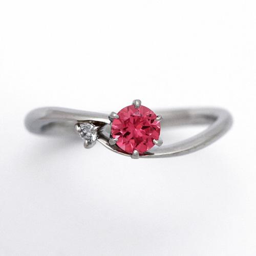 プラチナ ピンクスピネル 0.409ct ダイヤモンド 0.03ct エンゲージリング