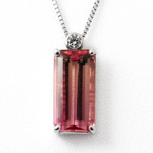 トルマリンネックレス Pt900 トルマリン 5.54ct ダイヤモンド 0.074ct