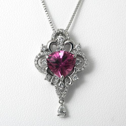 ピンクトルマリンネックレス プラチナ ピンクトルマリン 2.73ct ダイヤモンド 0.68ct