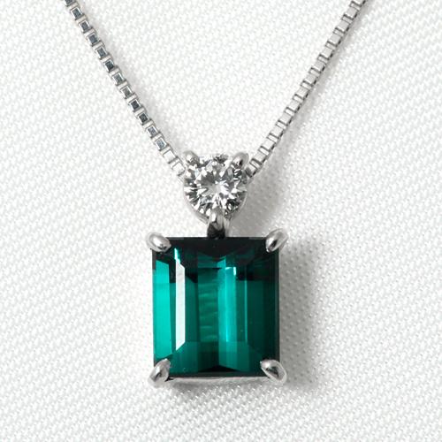 Pt900 トルマリン 1.539ct ダイヤモンド 0.11ct ネックレス