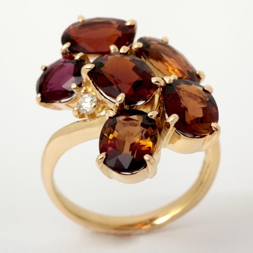 K18 トルマリン 7.45ct ダイヤモンド 0.049ct リング