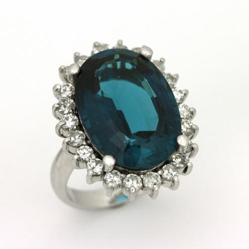 最高級品質 プラチナ インディゴブルー トルマリン 16.32ct ダイヤモンド 1.44ct リング