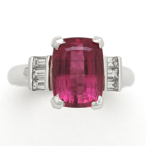 プラチナ ピンクレッド トルマリン 4.41ct ダイヤモンド 0.31ct リング