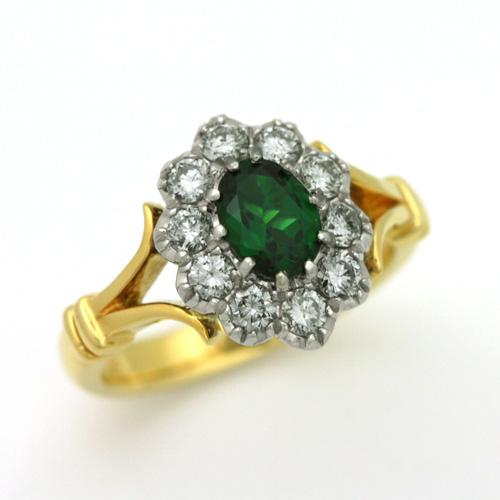 トルマリンリング K18/Pt900 グリーントルマリン 0.71ct ダイヤモンド 0.56ct