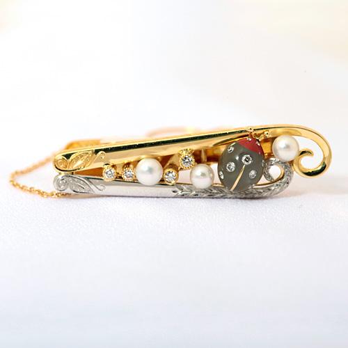 タイタック プラチナ K18 ダイヤモンド 0.19ct ハパール ムーンストーン ジャスパー