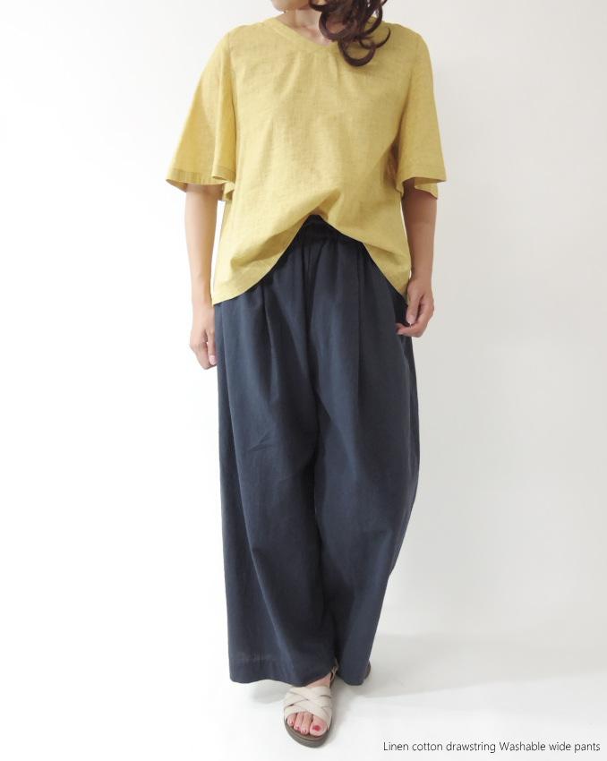 SALE 20 OFF 洗える綿麻ワイドパンツ ウエストゴム ミセス ファッション 50 代 40代 60代 70代 リネン コットン ガウチョパンツ アラフォー ナチュラルCBroWxed