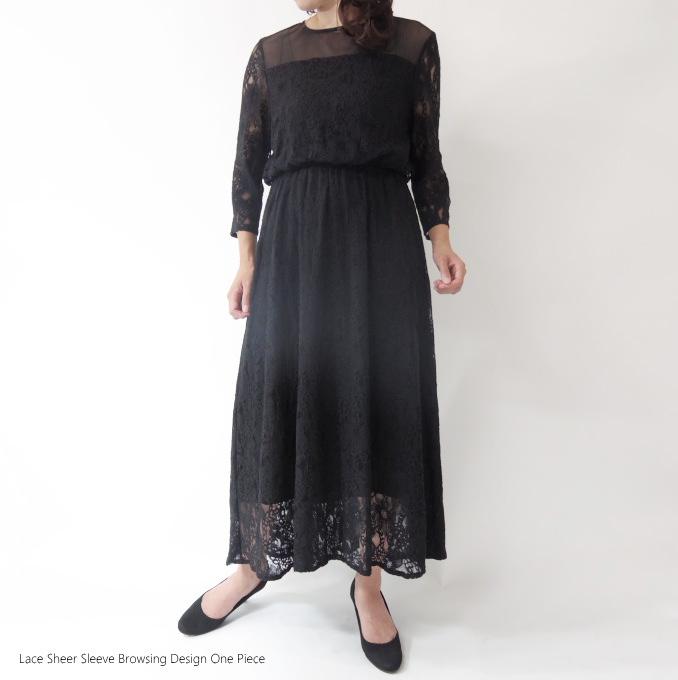 フラワーレースヨーク切替ブラウジングワンピース ミセス ファッション 50 代 40代 60代 70代 綿 アラフォー 春夏 母の日 プレゼント