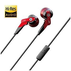 RADIUS 「ハイレゾ音源対応」「マイク付」カナル型イヤホン(レッド)1.2mコード HP‐NHA11R(送料無料)