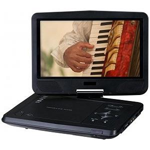グリーンハウス 10V型ワイド ポータブルDVDディスクプレーヤー(乾電池対応) GH‐PDV10V‐BK