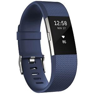 ウェアラブル端末 心拍計+フィットネスリストバンド「Fitbit Charge 2」Sサイズ FB407SBUS-JPN Blue