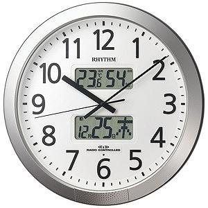 リズム時計工業 電波掛け時計「プログラムカレンダー404SR」 4FN404SR19